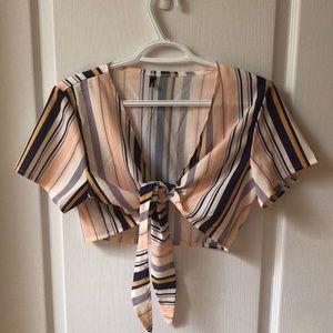 Colourful Zara tie-up top